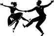 Rock and roll dancing silhouette - 77481885