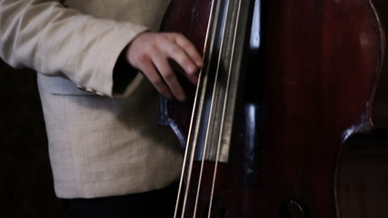 Dolly shot over a bass and cello player