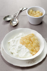 yogurt with apple compote in a tbowl