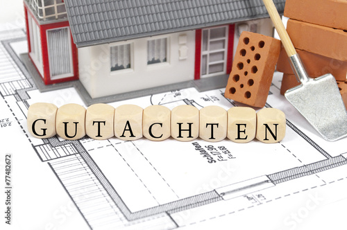 Bauplan mit Ziegelstein und Haus mit Gutachten - 77482672