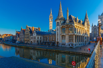 Quay Graslei in Ghent town at morning, Belgium