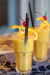 Closeup photo of  citrus smoothie