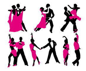 vector set of six dancing couples