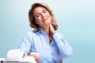 Business woman having a neck pain