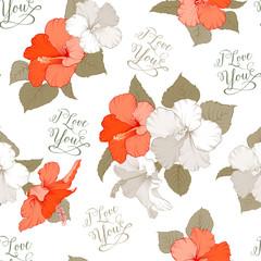 Hibiscus seamless pattern.