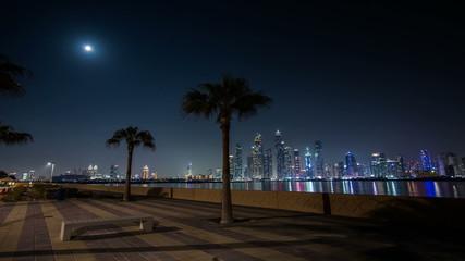 time lapse photography, night view of Dubai