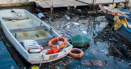 Rubbish at Sea harbor Bari, Environmental / Water Pollution