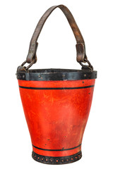 Vintage leather fire brigade bucket isolated on white