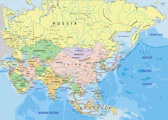 Asia - Highly detailed editable political map.