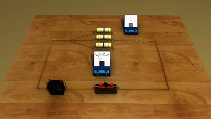 Resistors and voltmeter in parallel and observing ammeter
