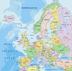 Europe - Highly detailed editable political map.