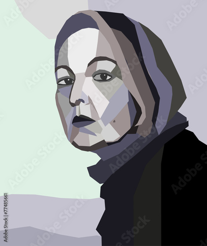 Business Woman in black shirt painted in abstract vector design - 77485661
