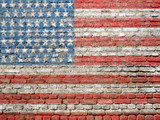 Fototapety USA flag painted on wall