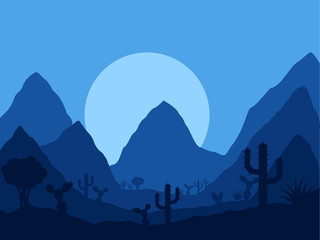 vector mexican twilight landscape with silhouette of cactus