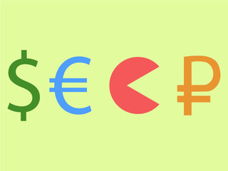 Dollar and euro eating rouble