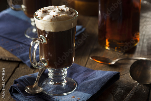 Deurstickers Koffie Homemade Irish Coffee with Whiskey