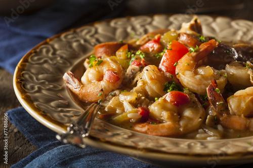 Keuken foto achterwand Schaaldieren Homemade Shrimp and Sausage Cajun Gumbo