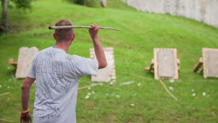 Man  throwing spear