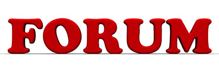 Forum (форум). Красное слово на белом фоне