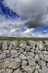Italy, Sicily, countryside, hand made sicilian stone wall