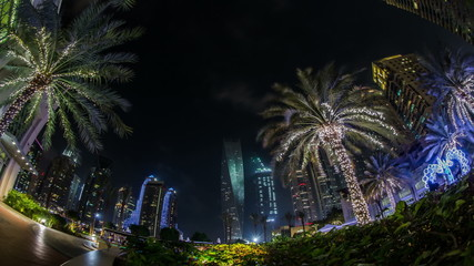 time lapse photography, Dubai Marina with skyscraper