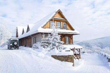 Mountain cottage in winter.  Beskids Mountains, Poland