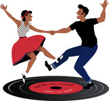 Fototapety Rockabilly couple dancing on a vinyl record