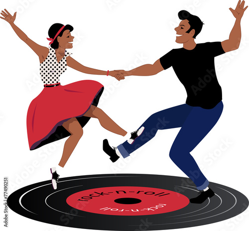 Rockabilly couple dancing on a vinyl record - 77490251