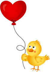 Chick holding heart balloon