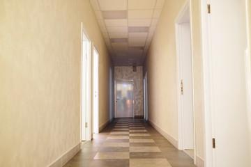 Empty corridor in fitness center