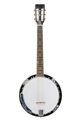 The image of white banjo isolated