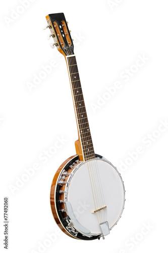 Leinwanddruck Bild The image of white banjo isolated