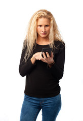 Worried girl using a mobile