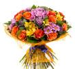 Obrazy na płótnie, fototapety, zdjęcia, fotoobrazy drukowane : Bouquet of natural orange roses and colorful flowers