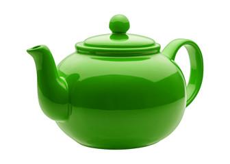 Angled Green Teapot