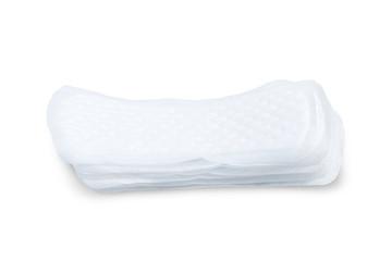 Stack of sanitary napkins isolated on white background