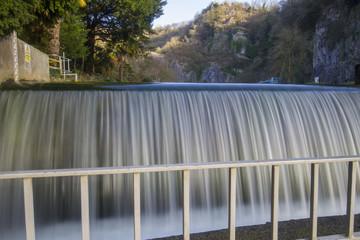 flowing waterfall in gorge