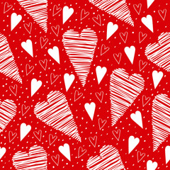Valentine seamless pattern with white hearts on a red background