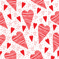 Valentine seamless pattern with red hearts on a white background