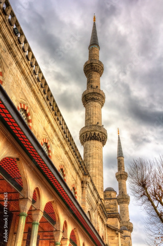 Obraz na plátne Minarets of the Sultan Ahmet Mosque in Istanbul - Turkey