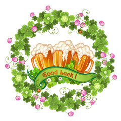 Clover and beer for Saint Patrick's Day