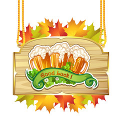 Wood banner with leaf and beer