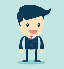 Cartoon Illustration of a Speaking Businessman. Vector