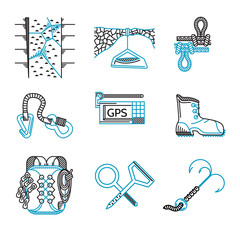 Flat line icons for rappelling equipment