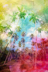 watercolor retro palm grove