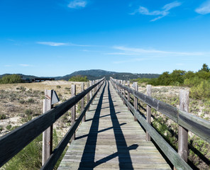 Walking on Wooden Walkway in the Sand Dunes