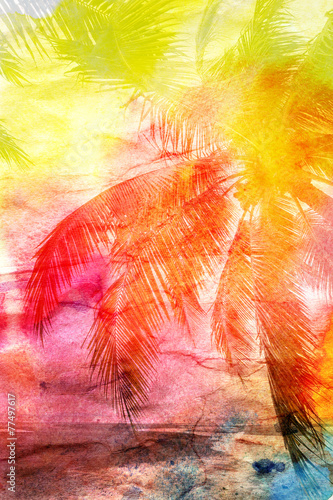 Aluminium Palm boom watercolor retro palm