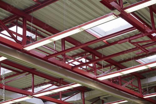 canvas print picture Stahlträger in einer Industriehalle
