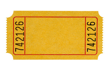 Blank yellow ticket