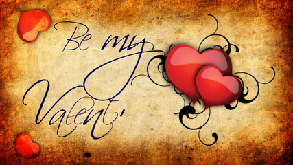 Animated Be my Valentine sign with beating hearts on a old paper background